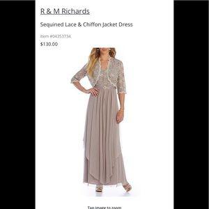 R & M Richards champagne color size 6 Dress